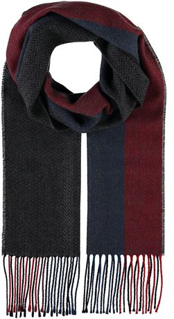 Black, blue and red herringbone woven fringed scarf from V Fraas