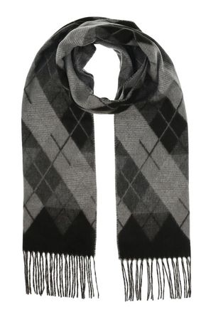 Black and grey fringed argyle scarf from V Fraas
