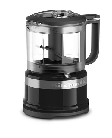 Black, silver and glass mini food processor from KitchenAid