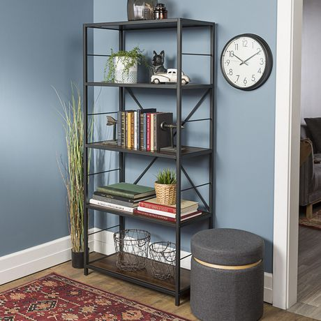 Manor Park 63 Rustic Metal And Wood Media Bookshelf