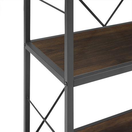 Manor Park Armoire de livres et médias rustique en bois et métal de 160cm (63po) - Noyer foncé - image 4 de 7