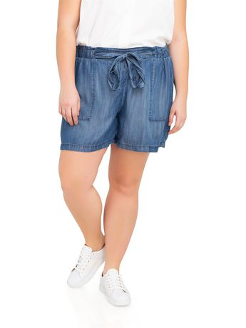 Jordache Women's Plus Paperbag Short Indigo 24W