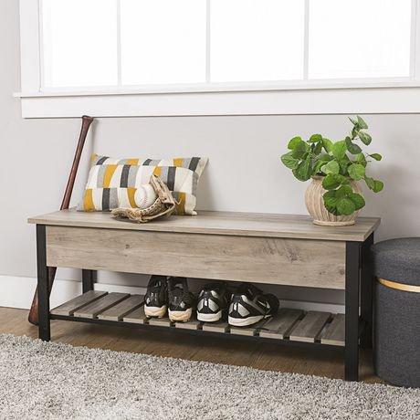 banc de rangement ouvert en haut avec tag re pour chaussures de 121 9 cm 48 po lavis gris. Black Bedroom Furniture Sets. Home Design Ideas