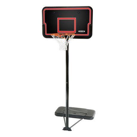 Système de basketball avec poteau en aluminium, panneau noir et base noire
