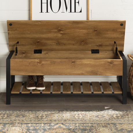 Manor Park Modern Farmhouse Storage Bench With Hidden Storage Walmart Canada