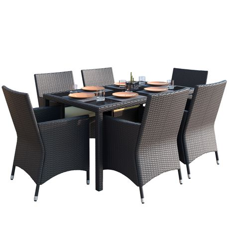 Sonax Park Terrace 7pc Charcoal Black Weave Patio Dining Set - image 2 of 6
