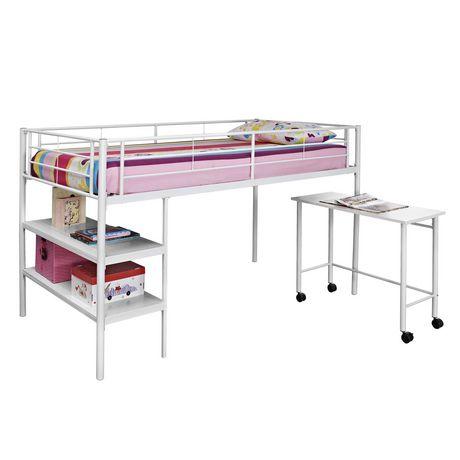 Twin Metal Loft Bed With Desk White Walmart Canada