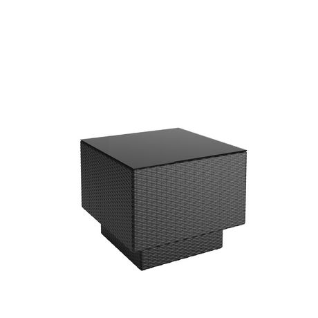 CorLiving PPT-301-T Park Terrace Textured Black Weave Patio Side Table - image 2 of 3