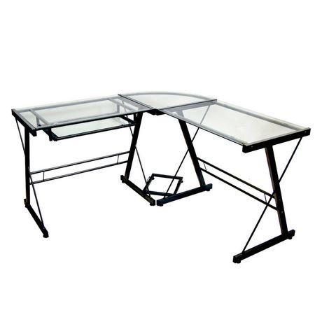 We Furniture Glass And Black Metal Corner Computer Desk Walmart Canada