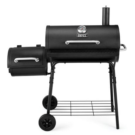 """Backyard Grill 30"""" Charcoal Barrel Grill with Side Smoker ..."""