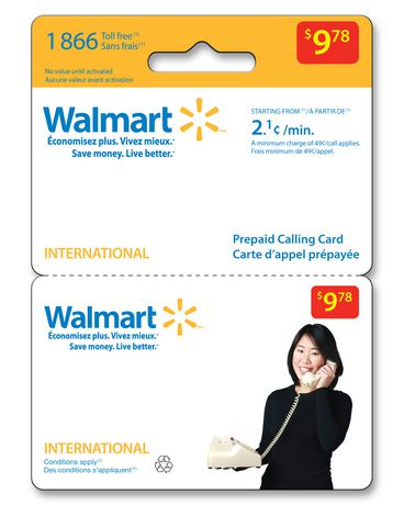 $9.78 Walmart Pre Paid Calling Card - International - image 1 of 1