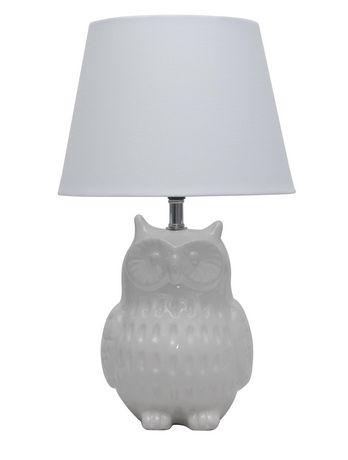 "Mainstays 14.5"" Ceramic Owl Table Lamp, White - image 1 of 1"