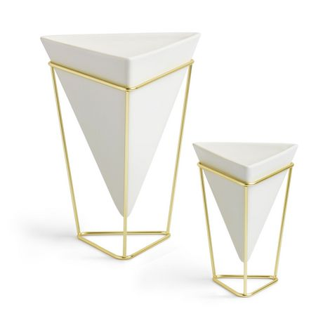 Trigg Tabletop Set (2) Small + Large White / Brass - image 1 of 4