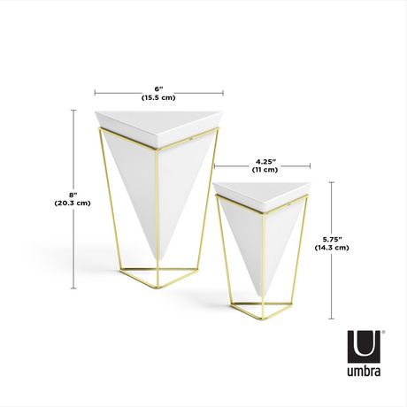 Trigg Tabletop Set (2) Small + Large White / Brass - image 2 of 4