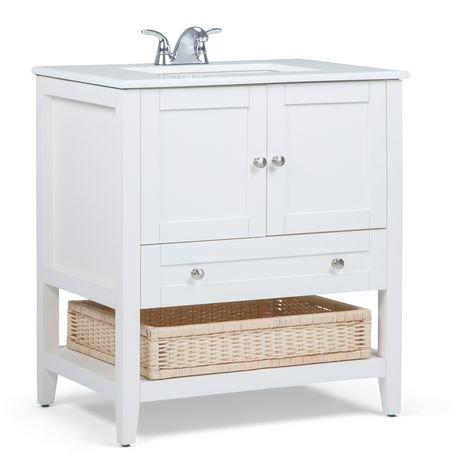 belmont meuble lavabo 30 po avec dessus en marbre blanc walmart canada. Black Bedroom Furniture Sets. Home Design Ideas
