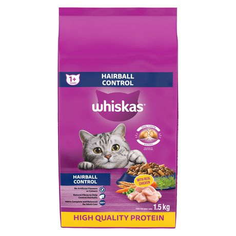Whiskas Hairball Control with Real Chicken, 1.5kg Dry CAT Food - image 1 of 7