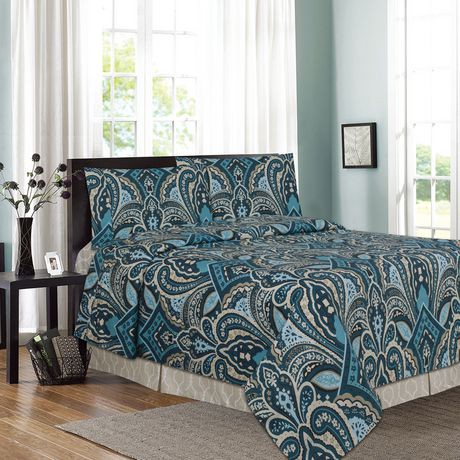 ensemble de draps imprim es 4 pi ces paisley walmart canada. Black Bedroom Furniture Sets. Home Design Ideas