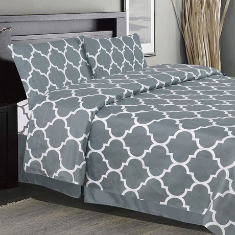 ensemble de draps imprim es 4 pi ces holbrooke gris walmart canada. Black Bedroom Furniture Sets. Home Design Ideas