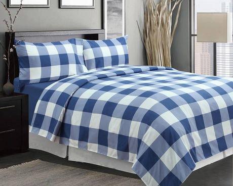 ensemble de draps imprim es 4 pi ces oxford bleu walmart canada. Black Bedroom Furniture Sets. Home Design Ideas