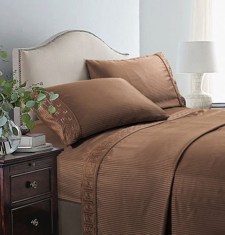 ensemble de draps 4 morceaux brod es millano chocolat walmart canada. Black Bedroom Furniture Sets. Home Design Ideas