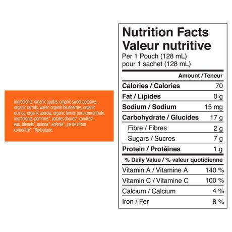 Purée sans gluten de pommes, patates douces, carottes et myrtilles biologiques de Love Child - image 3 de 3
