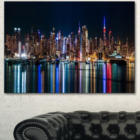 Design Art New York Midtown Night Panorama Extra Large Cityscape Canvas Wall Art Print | Walmart Canada & Design Art New York Midtown Night Panorama Extra Large Cityscape ...