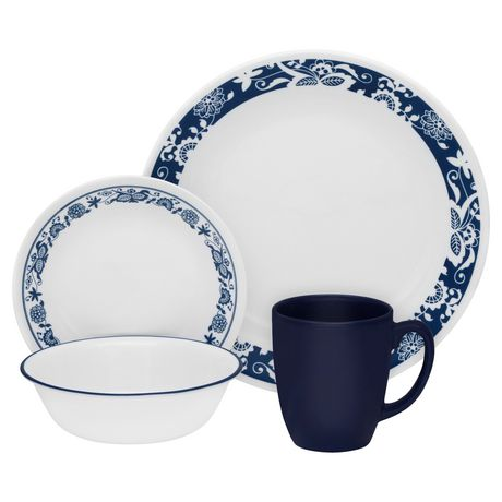 corelle® true blue dinnerware set 16pc | walmart canada