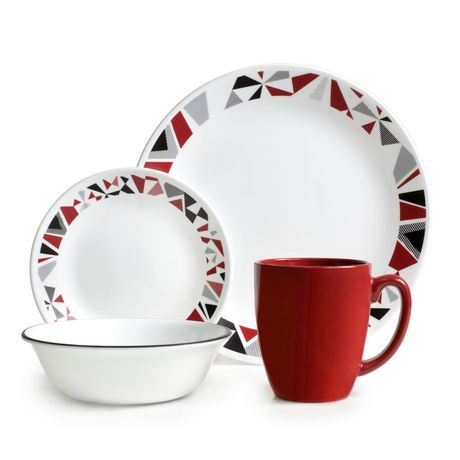 Corelle 174 Mosaic Red Dinnerware Set 16pc Walmart Canada