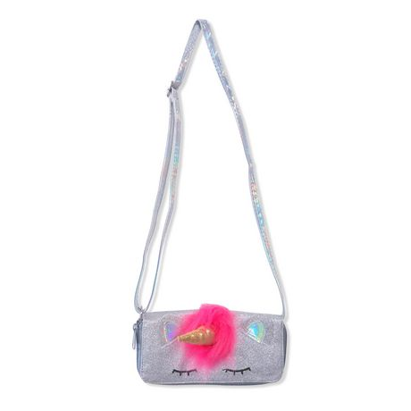 Grey crossbody bag with grey strap and sleeping unicorn face design on front