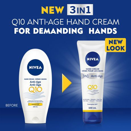 NIVEA 3-in-1 Q10 Anti-Age Hand Cream (100mL), Hand Cream for Normal to Dry Hands, Moisture Care Formula for Smooth Hands, For Use After Hand Sanitizer or Hand Soap - image 2 of 2