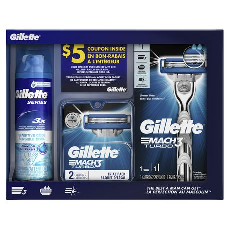 Gillette Mach 3 Turbo Holiday Set containing one razor handle, three cartridges and one shave gel