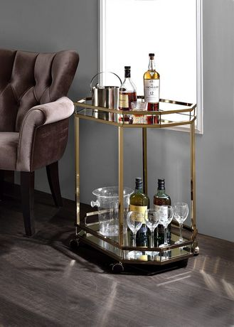 ACME Lacole Serving Cart in Champagne & Mirror - image 1 of 3