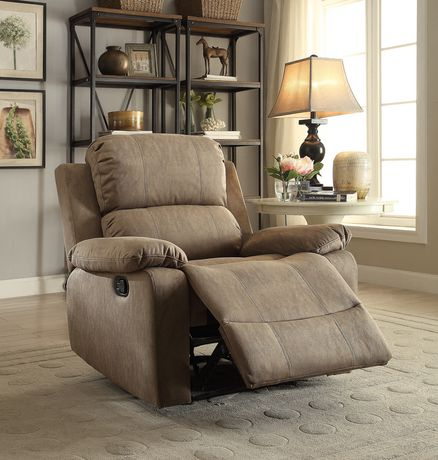 ACME Bina Recliner in Taupe Polished Microfiber - image 1 of 3
