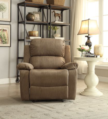 ACME Bina Recliner in Taupe Polished Microfiber - image 2 of 3