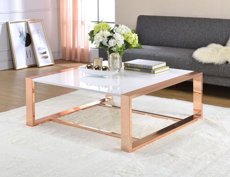 ACME Porviche Coffee Table in White High Gloss & Rose Gold - image 1 of 2