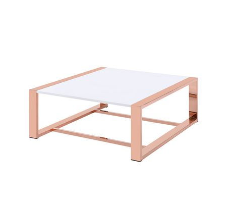 ACME Porviche Coffee Table in White High Gloss & Rose Gold - image 2 of 2