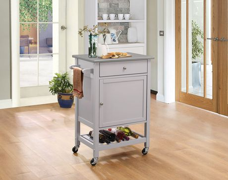 Acme Hoogzen Kitchen Cart In Stainless Steel Gray