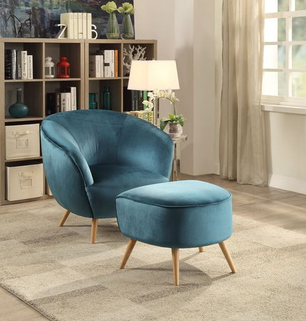 Acme Aisling Accent Chair In Teal Velvet Walmart Canada