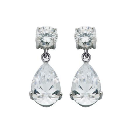 Round Brilliant Cut Cubic Zirconia CZ Crystal .925 Sterling Silver Stud Earrings
