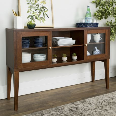 "Manor Park 52"" Hepworth Wood Buffet with Tapered Legs - Walnut - image 2 of 5"