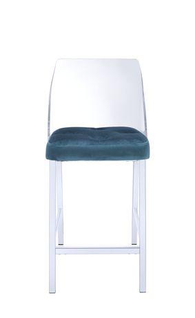 Acme Nadie Ii Counter Height Chair In Teal Velvet Amp Chrome