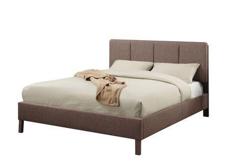 Très grand lit Rosanna ACME en lin brun pâle - image 2 de 2