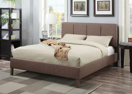 Très grand lit Rosanna ACME en lin brun pâle - image 1 de 2