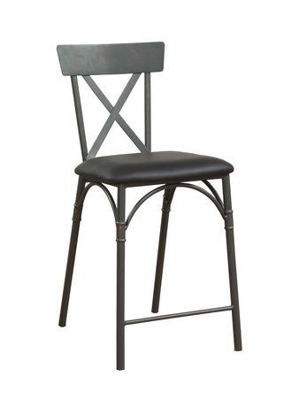 Chaise à hauteur de comptoir Itzel ACME en similicuir PU noir et fini gris sable - image 2 de 2