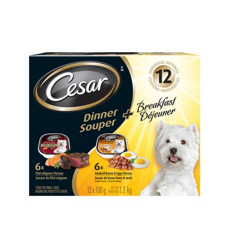 Cesar Dinner + Breakfast Variety Pack Filet Mignon, Smoked Bacon & Eggs Wet Dog Food for Small Dogs - image 1 of 7