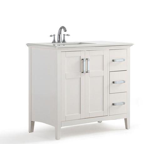 Salem 36 Left Offset Bath Vanity With Quartz Marble Top Walmart Canada
