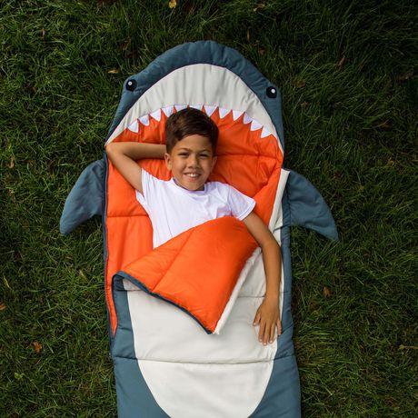 WITH CARRY BAG CHILDRENS SHARK SLEEPING BAG CAMPING SLEEP BAGS 170cm x 70cm