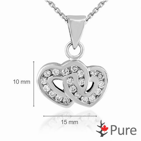 """Pure CZ Double Heart Pendant, in Sterling Silver with 18"""" Chain - image 2 of 2"""