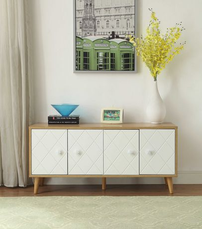 ACME Anita Console Table in Natural & White - image 1 of 2