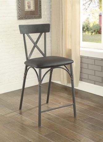 Chaise à hauteur de comptoir Itzel ACME en similicuir PU noir et fini gris sable - image 1 de 2